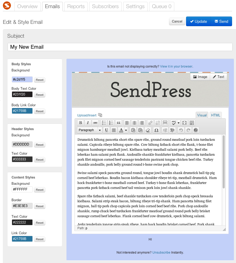 Sendpress email marketing plugin email editor screen preview